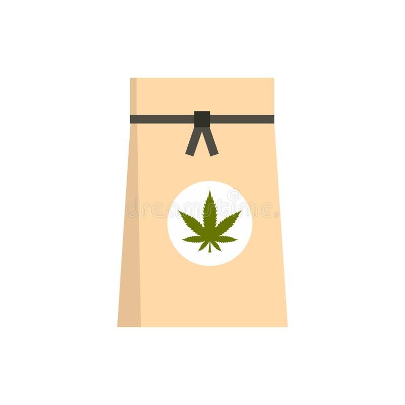 Sac de papier d'icône médicale de marijuana, style plat illustration de vecteur