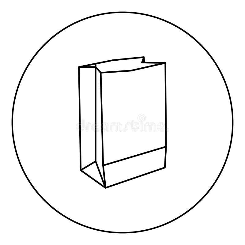 Sac de papier l'icône noire de couleur en cercle ou rond illustration de vecteur