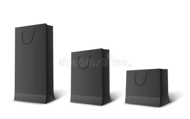 Sac de papier noir réglé dans diverses tailles Maquettes au détail vides de paquet d'achat dans la longue, moyenne et courte tail illustration de vecteur