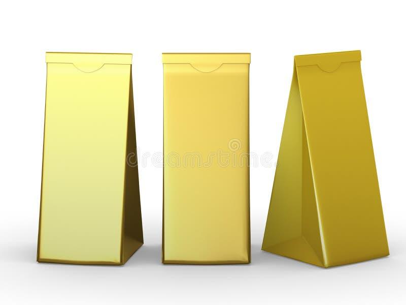 Sac de papier plié d'or avec le chemin de coupure images libres de droits