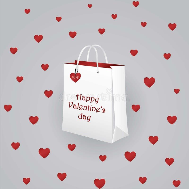 Sac de papier pour le jour du ` s de Valentine avec des coeurs images libres de droits