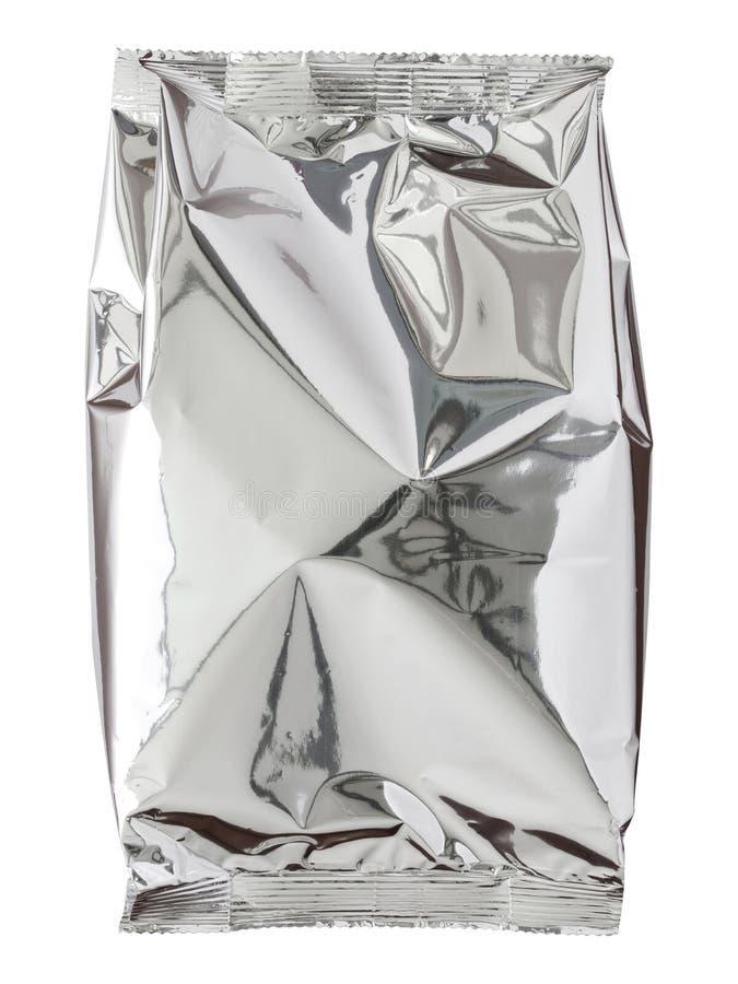 Sac de paquet d'aluminium d'isolement sur le blanc images libres de droits