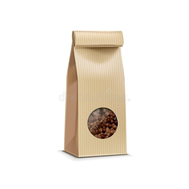 Sac de paquet d'emballage de café de vecteur d'isolement illustration libre de droits