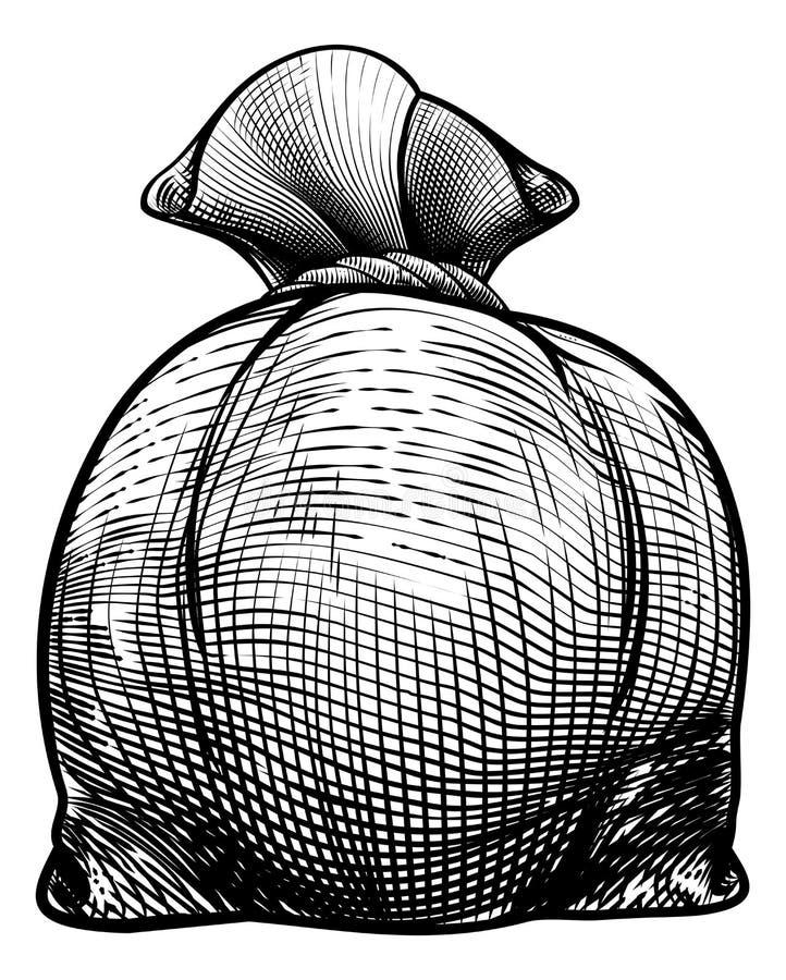 Sac de sac ou d'argent à toile de jute illustration libre de droits
