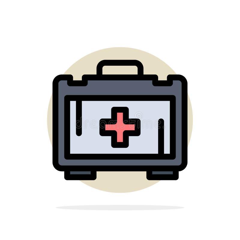 Sac, sac de santé, icône plate de couleur de fond de cercle d'abrégé sur motivation illustration stock
