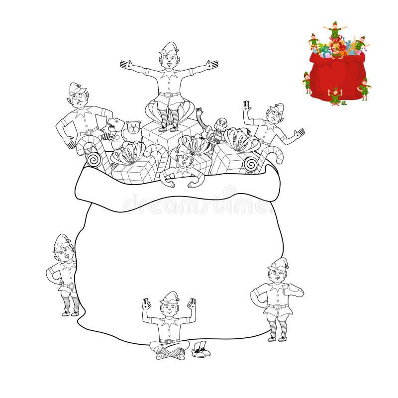 Sac de Santa et livre de coloriage d'elfe Sac à Noël et ligne s d'elfes illustration libre de droits