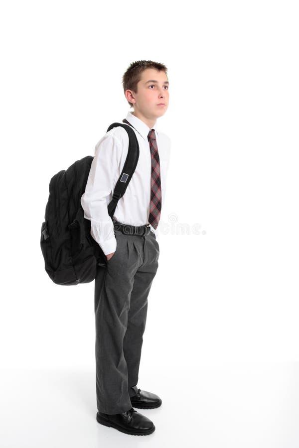 Sac de transport de sac à dos d'étudiant de lycée image stock