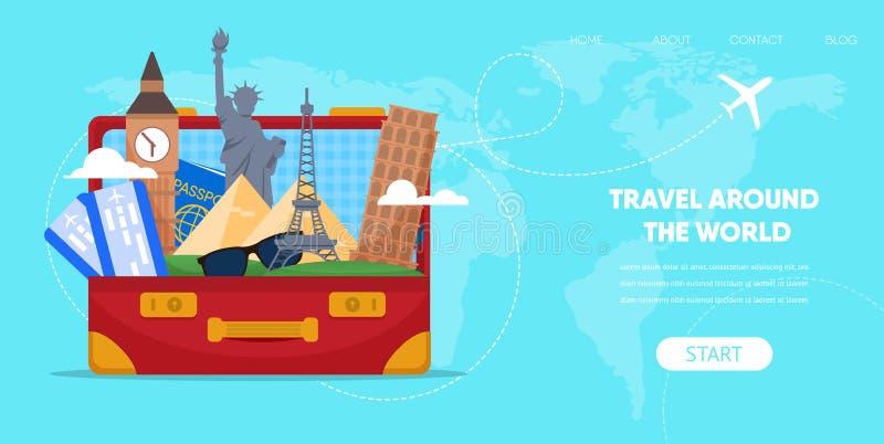 Sac de valise avec le vecteur célèbre de points de repère de bande dessinée illustration stock