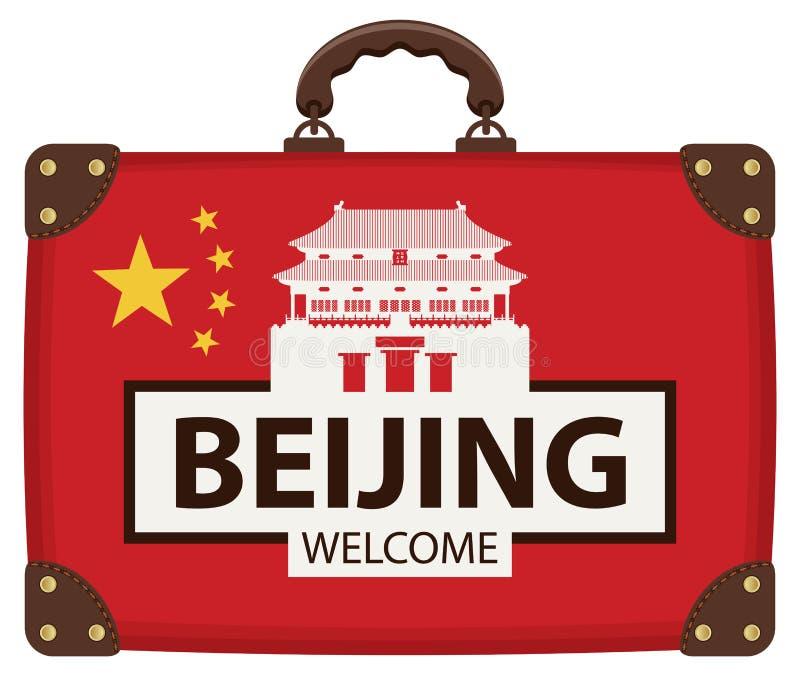 Sac de voyage avec le drapeau et le Cité interdite chinois illustration libre de droits