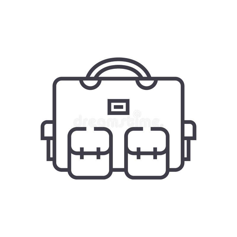 Sac de voyage, ligne icône, signe, illustration de vecteur de cas de vacances sur le fond, courses editable illustration libre de droits