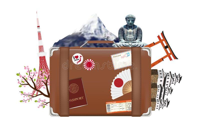 Sac de voyage de valise avec l'icône et le point de repère du Japon illustration de vecteur