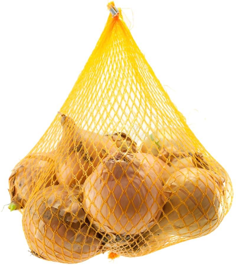 Sac des oignons photo stock