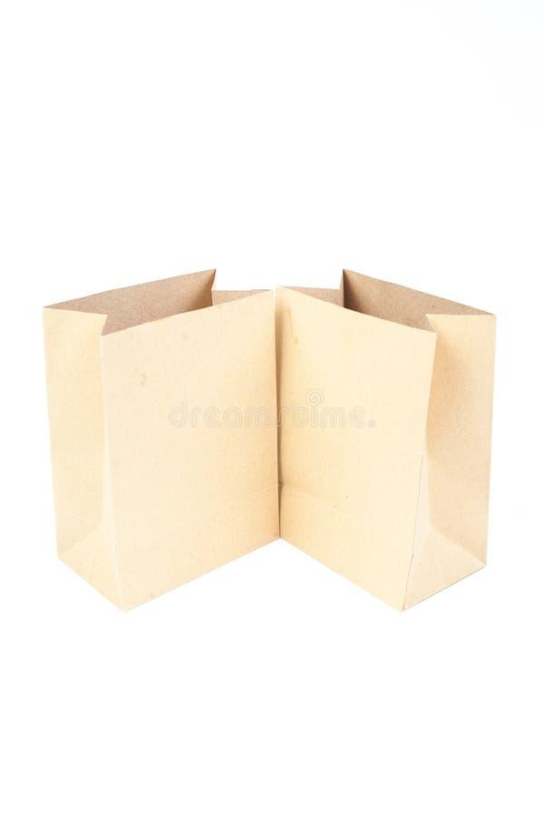 Sac deux de papier brun images stock