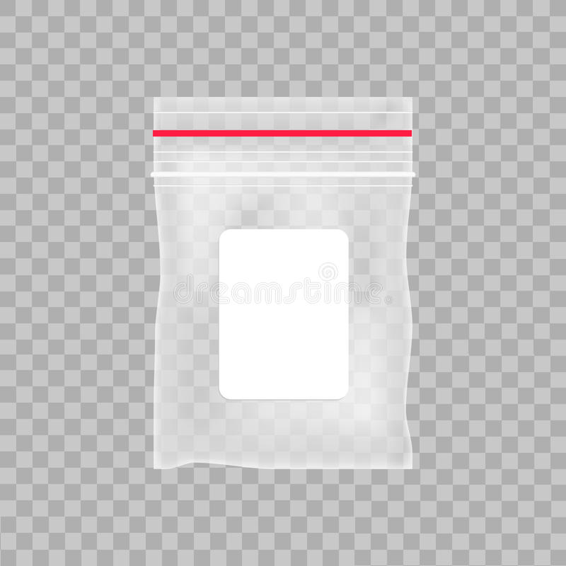Sac en plastique transparent vide de poche Sac vide de tirette de vide sur le fond transparent Illustration de vecteur illustration libre de droits
