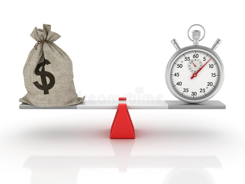 Sac et chronomètre d'argent du dollar équilibrant sur une bascule illustration stock
