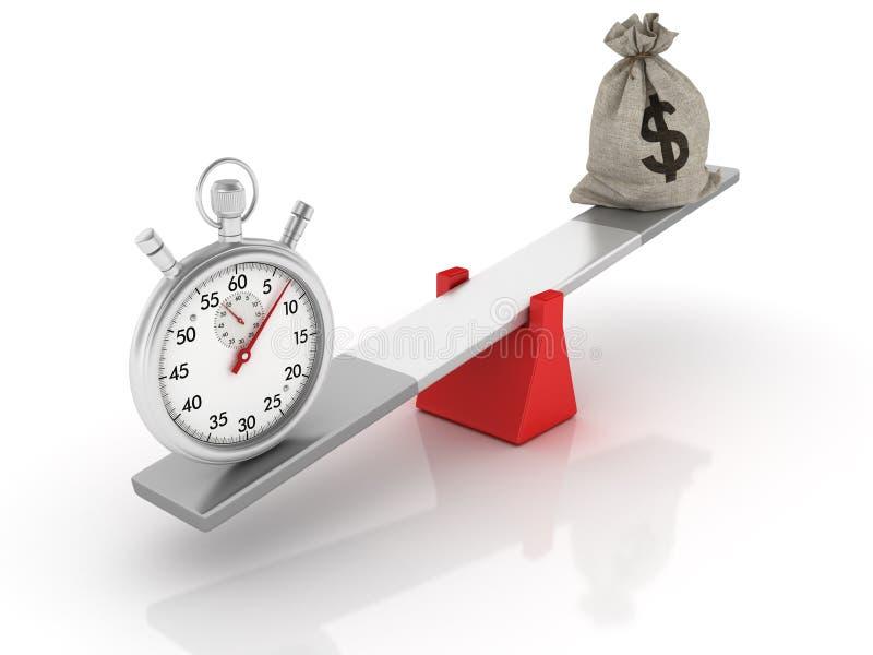 Sac et chronomètre d'argent du dollar équilibrant sur une bascule illustration de vecteur
