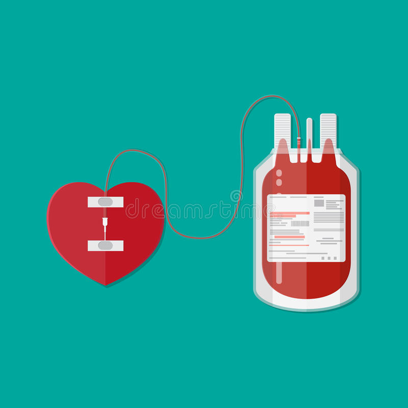 Sac et coeur de sang donation illustration libre de droits