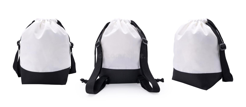 Sac et corde blancs de tissu sur le fond d'isolement avec le chemin de coupure Sac ? dos vide de mode pour le montage ou votre co illustration de vecteur