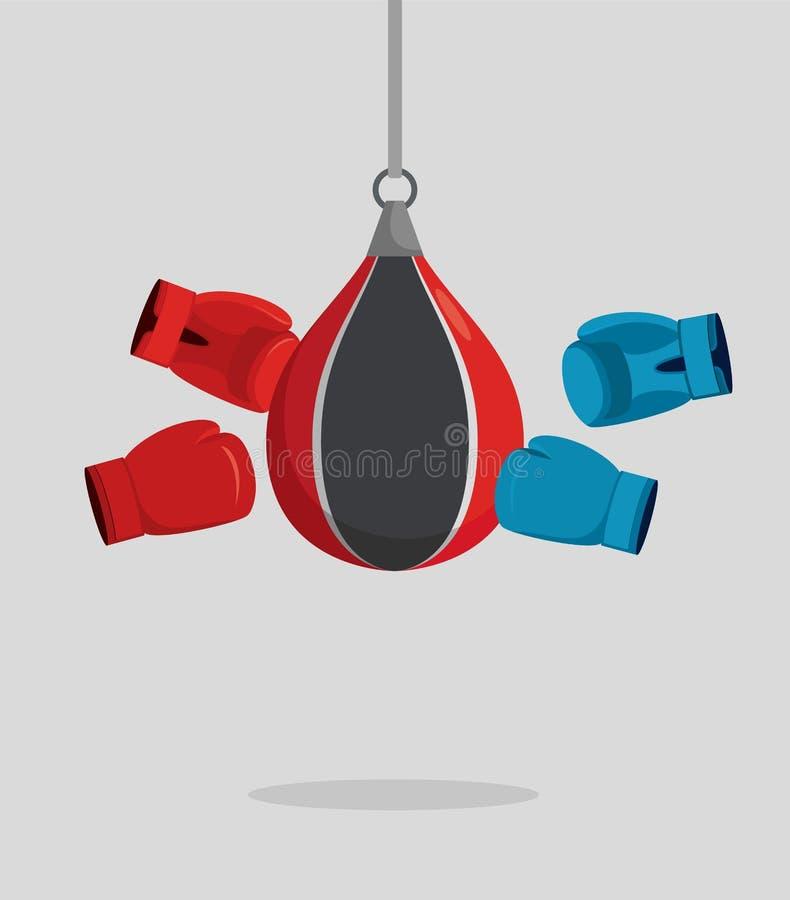 Sac et gants de poinçon Équipement pour la boxe Battements d'exercice Vect illustration stock