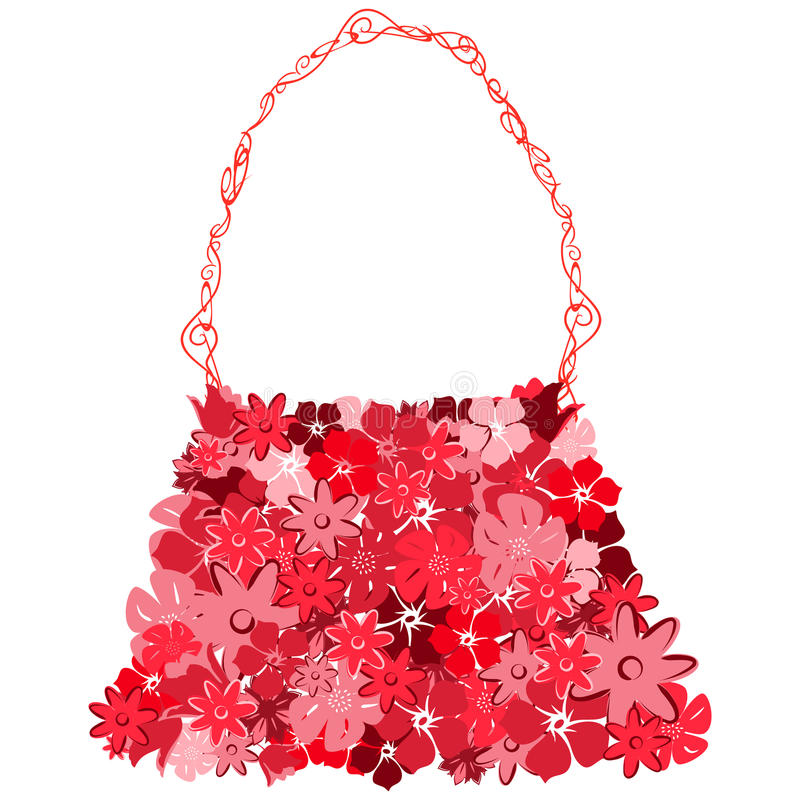 Sac femelle des fleurons rouges illustration stock