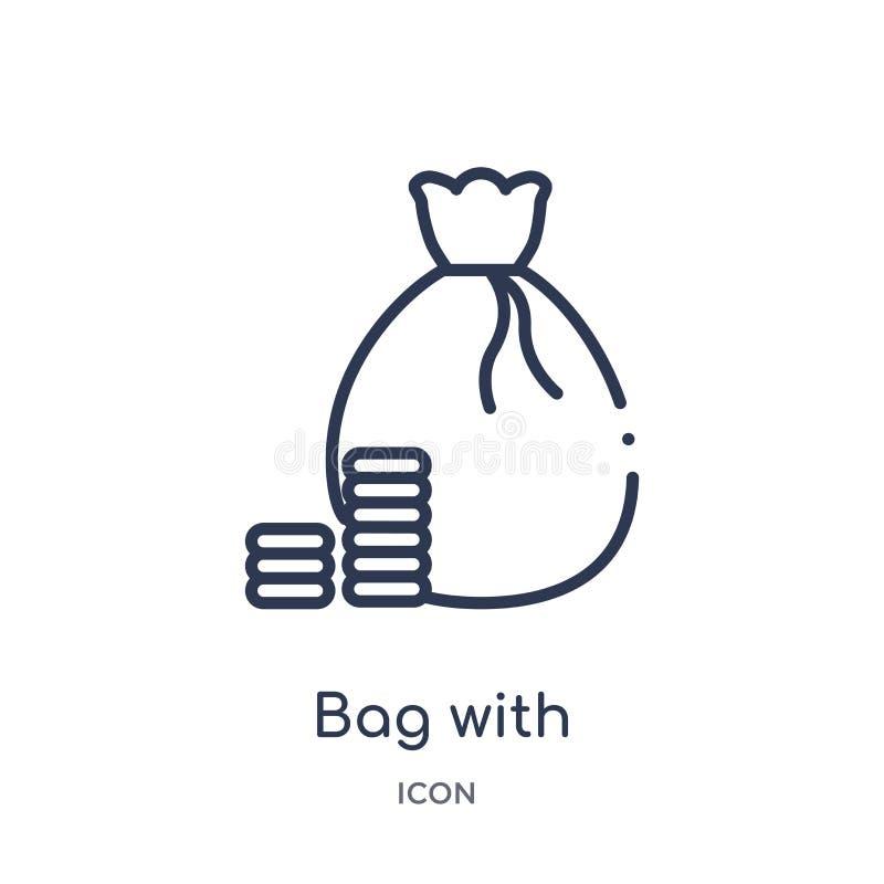 Sac linéaire avec l'icône de jeu de contrôleurs de la collection d'ensemble de divertissement Ligne mince sac avec l'icône de jeu illustration stock