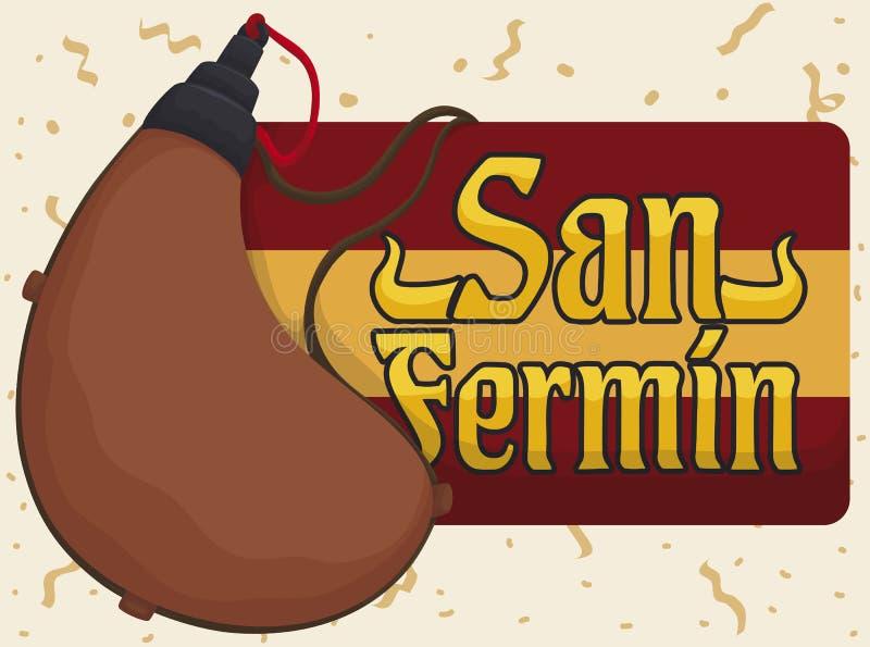 Sac ou cantine traditionnel de Bota pour célébrer San espagnol Fermin, illustration de vecteur illustration libre de droits