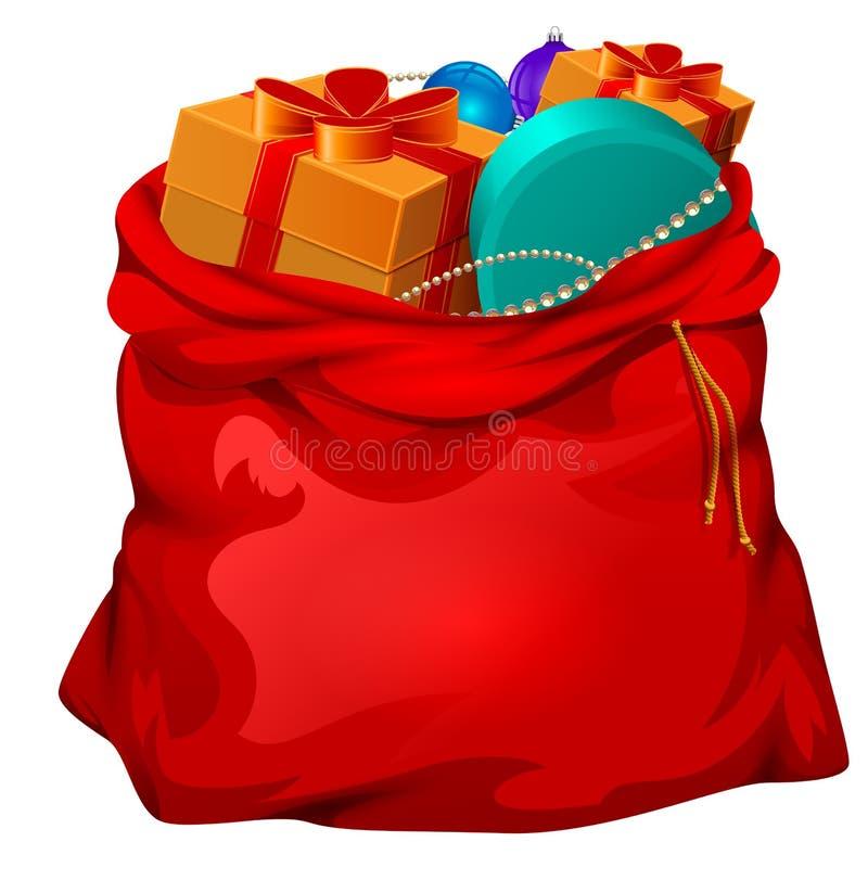 Sac ouvert de Santa de rouge avec des cadeaux Accessoire de Noël illustration stock