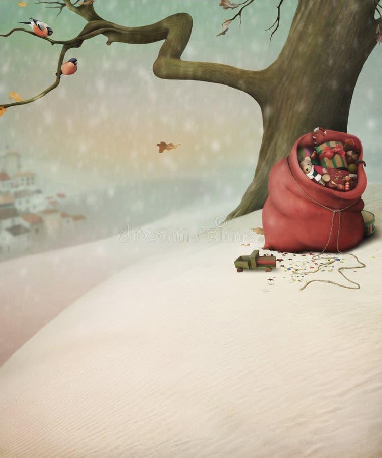 Sac rouge avec des cadeaux pour Noël en hiver pour illustration stock