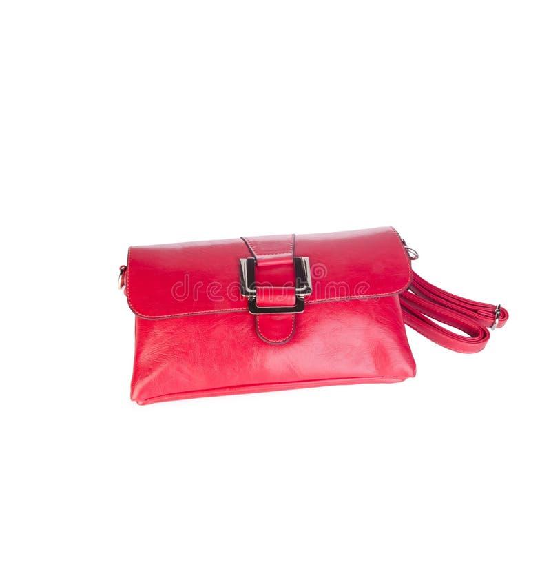 sac sac rouge de sac à main sur le fond images stock