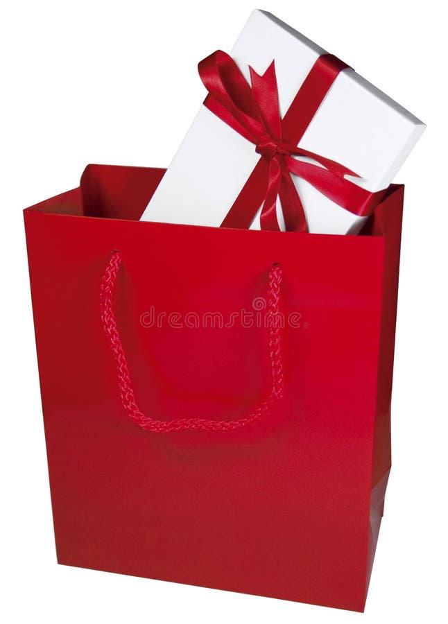 Sac rouge de cadeau photographie stock libre de droits