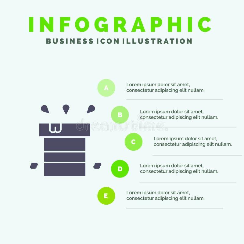 Sac, sec, divers, résistant, fond solide de présentation d'étapes d'Infographics 5 d'icône de l'eau illustration libre de droits