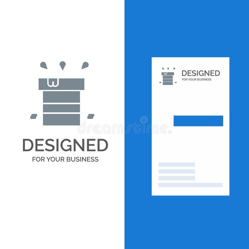 Sac, sec, divers, résistant, l'eau Grey Logo Design et calibre de carte de visite professionnelle de visite illustration libre de droits