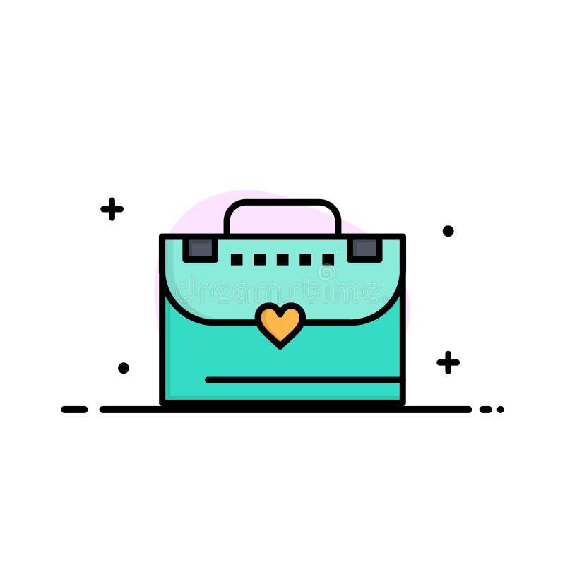 Sac, serviette, affaires Logo Template d'amour couleur plate illustration stock