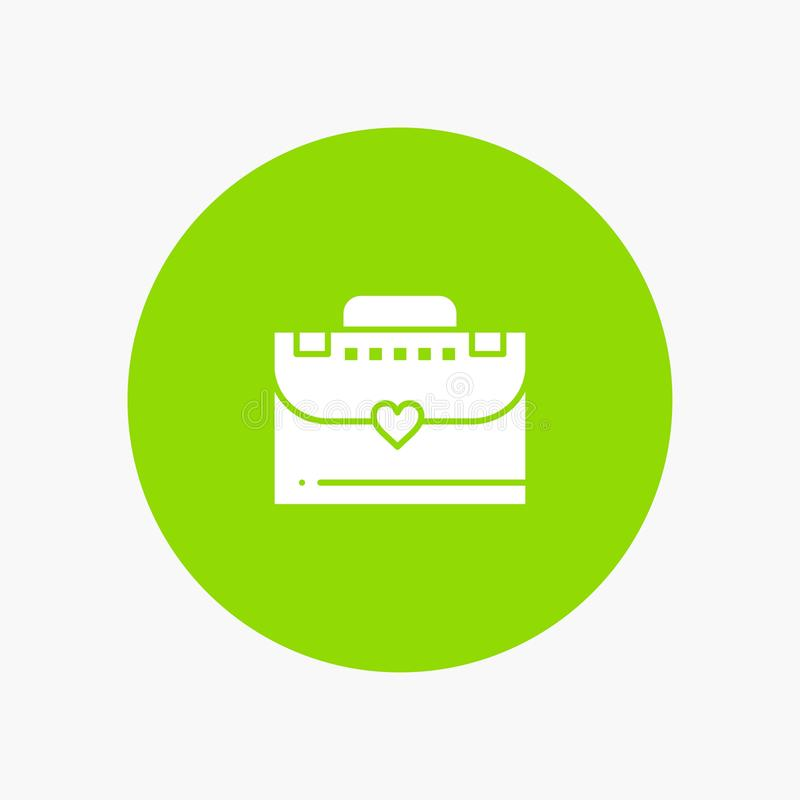 Sac, serviette, icône blanche de glyph d'amour illustration de vecteur