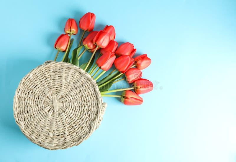 Sac tissé avec de belles tulipes rouges sur le fond bleu image libre de droits