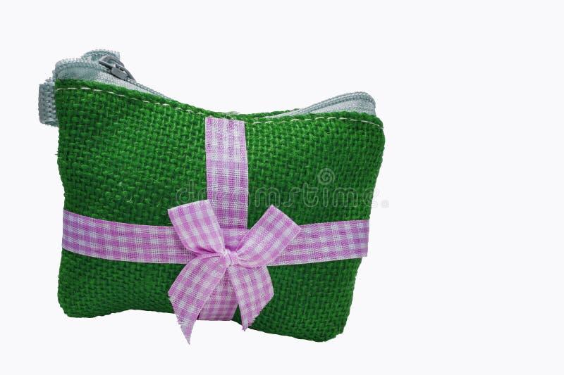 Sac vert de pièce de monnaie fait en coton photographie stock libre de droits