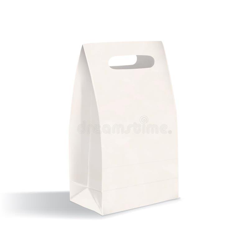 Sac vide réaliste de gousset de fond plat avec les poignées découpées avec des matrices Nettoyez l'emballage de papier d'isolemen illustration stock