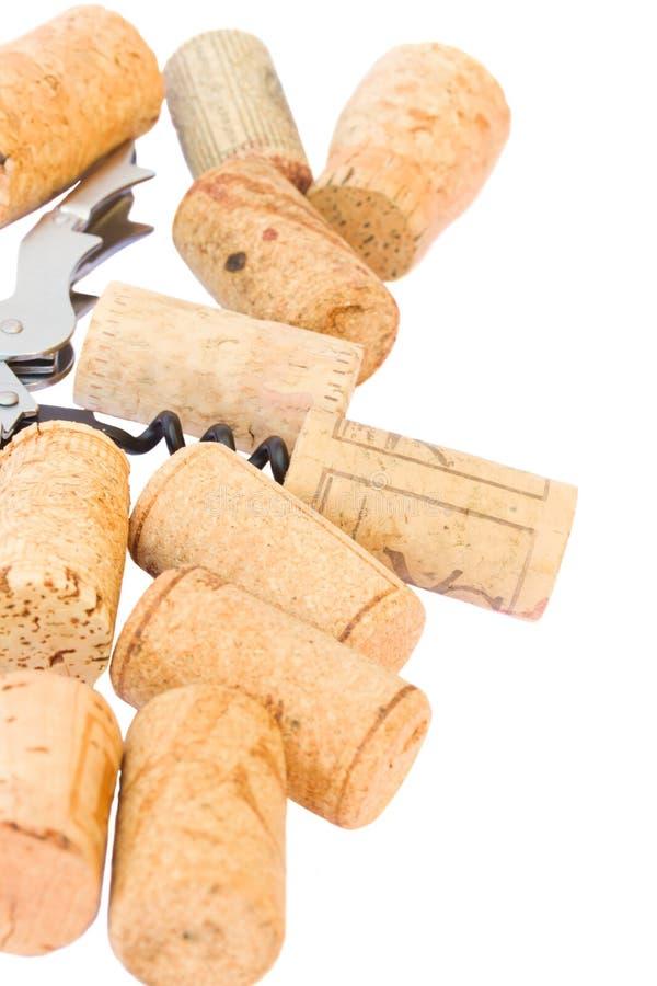 Sacacorchos con los corchos del vino fotos de archivo libres de regalías