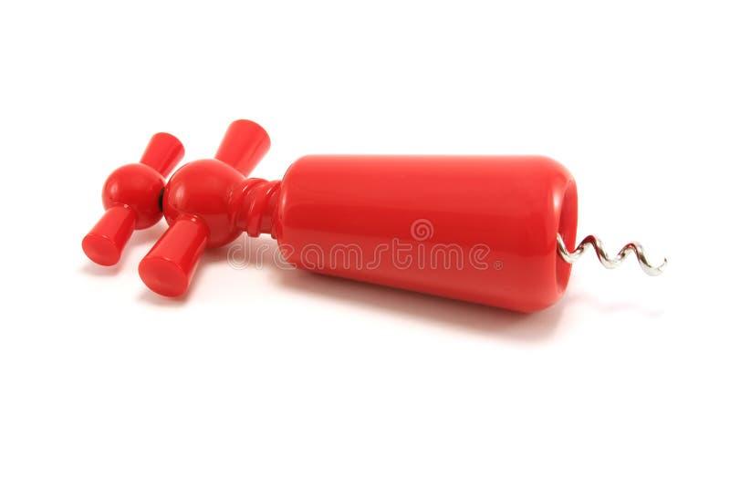 Sacacorchos plástico rojo foto de archivo libre de regalías
