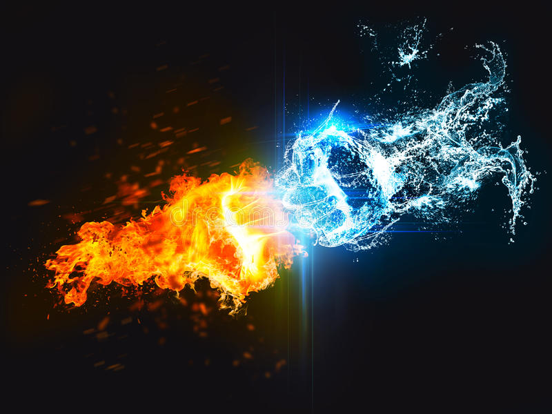 Sacador del fuego contra el agua ilustración del vector