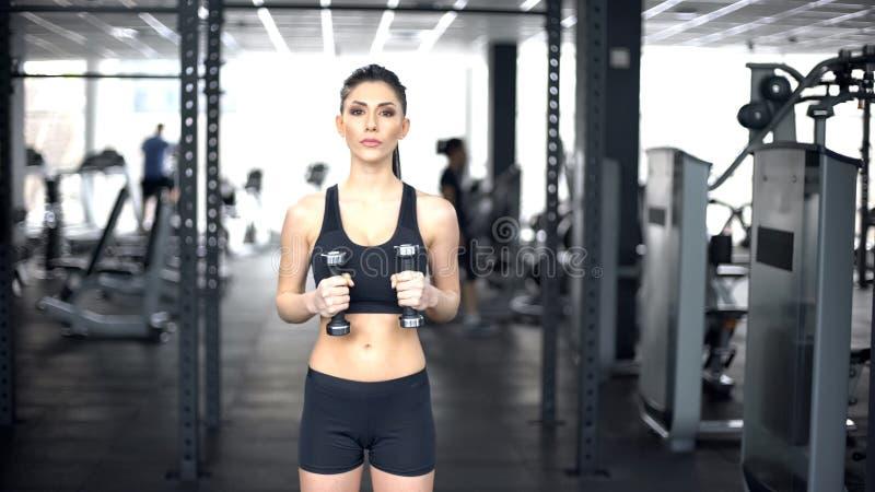 Sacadores que hacen femeninos juguetones con las pesas de gimnasia, entrenamiento del poder del cuerpo, entrenamiento del gimnasi imagen de archivo libre de regalías
