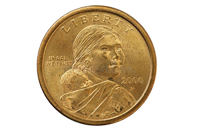 Sacagawea-Dollar-Münze stockfotografie