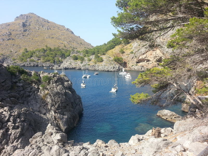 Sacalobra Majorca Balearen Spanien Paradiesboot stockbild
