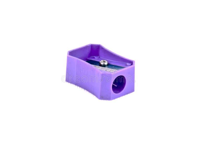 Sacapuntas de lápiz coloreados púrpura imagenes de archivo
