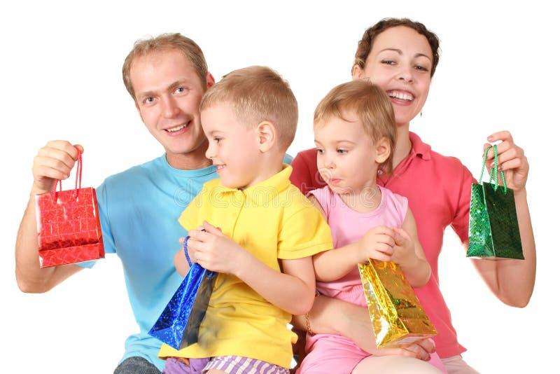 Sacchetti dei presente per tutta la famiglia immagini stock
