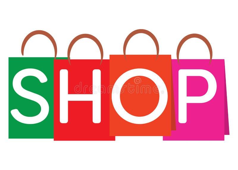 Sacchetti della spesa con il ` del negozio del ` di parola royalty illustrazione gratis