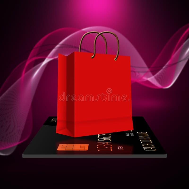 Sacchetti della spesa con la carta di credito illustrazione vettoriale