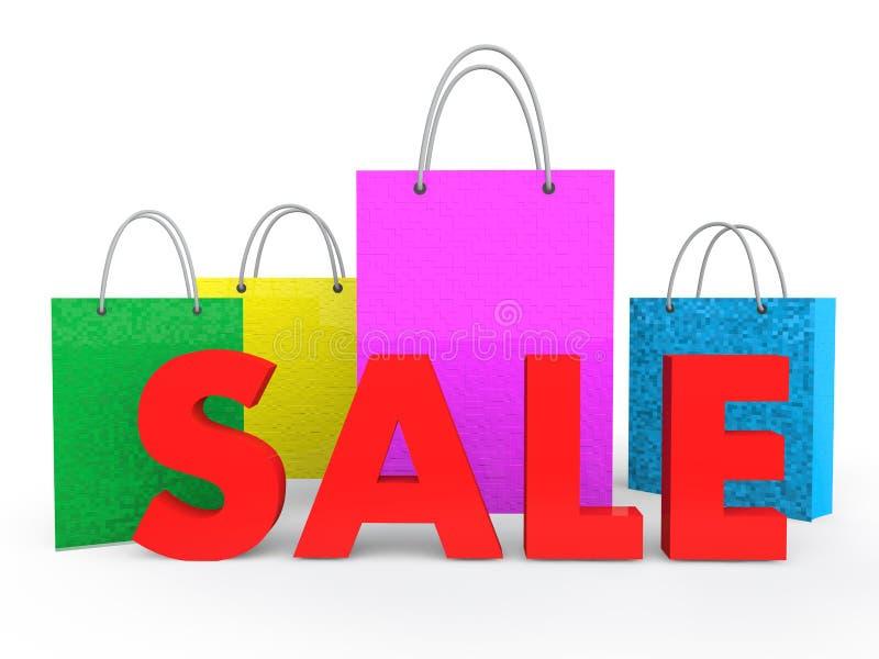 sacchetti della spesa 3d con il testo di vendita illustrazione vettoriale