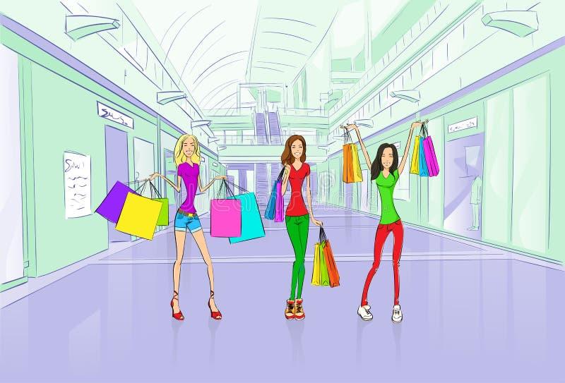 Sacchetti della spesa degli amici delle donne, centro del centro commerciale del negozio royalty illustrazione gratis