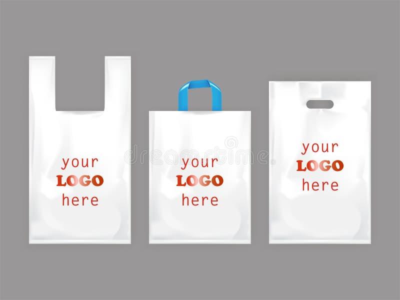 Sacchetti della spesa di plastica bianchi illustrazione vettoriale